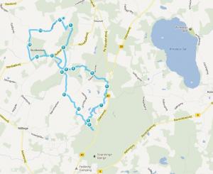 Kort over en del af ruten nær østrup.