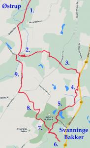 The route from M to Svanninge Bakker.