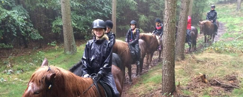 Auf der anderen Reitlager in den Herbstferien fand es nur einen Tag und die coole Ridepigerklarede-Reise im strömenden Regen.