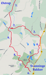 The route from M to Svanninge Bakker.